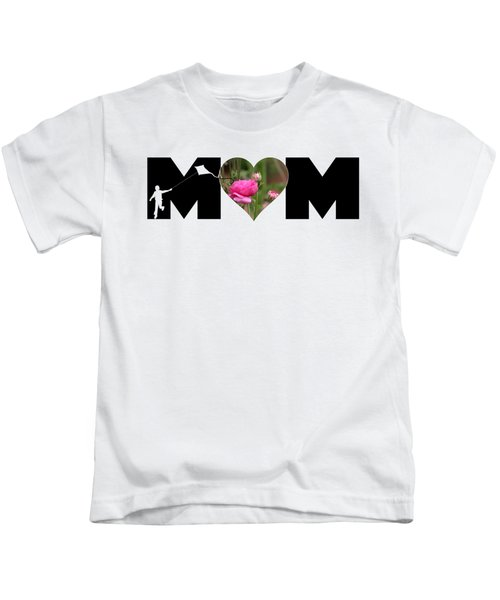 Boy Silhouette And Pink Ranunculus In Heart Mom Big Letter Kids T-Shirt