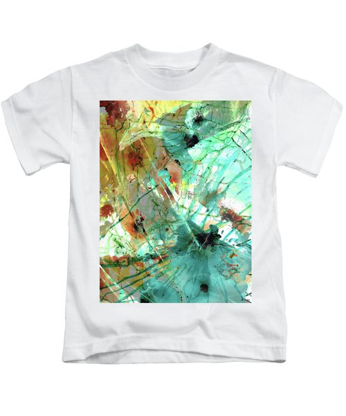 Brown And Teal Abstract Art - Give And Take - Sharon Cummings Kids T-Shirt