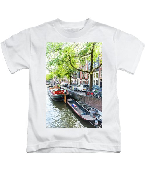 Canal Boats In Amsterdam Kids T-Shirt