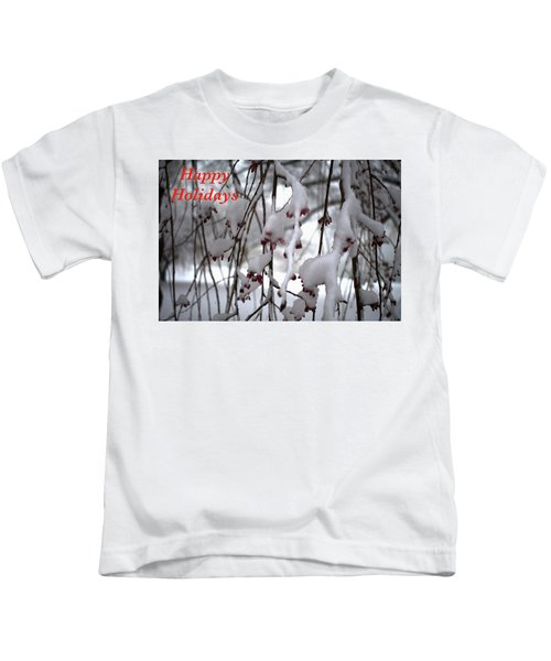 Cherry Blossoms In Snow Kids T-Shirt