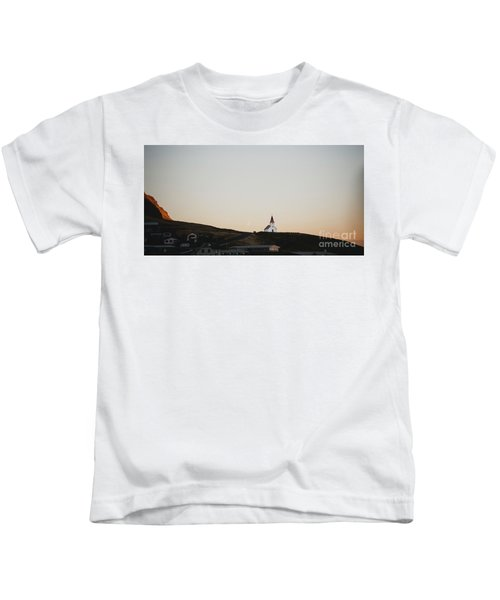 Church On Top Of A Hill And Under A Mountain, With The Moon In The Background. Kids T-Shirt