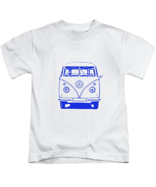 Clear Blue Vw Bus Graphic Kids T-Shirt