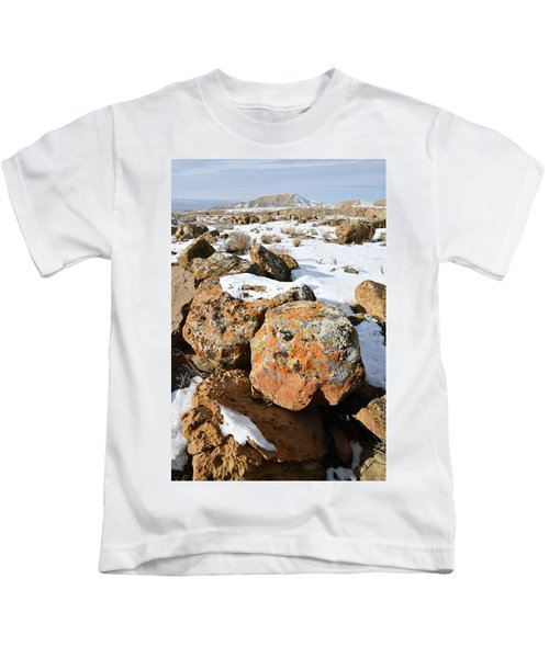 Colorful Lichen Covered Boulders In Book Cliffs Kids T-Shirt