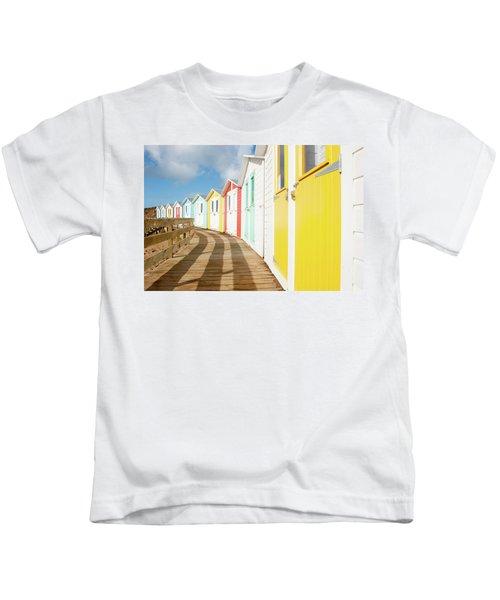 Colourful Bude Beach Huts Kids T-Shirt