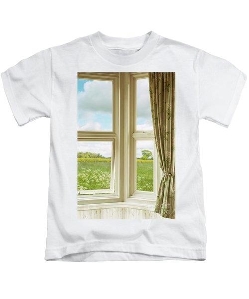 Corner Window Overlooking Landscape Kids T-Shirt