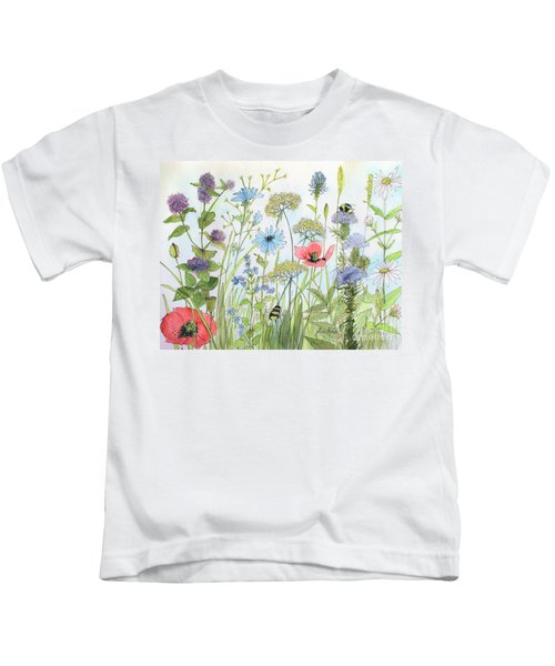 Cottage Flowers And Bees Kids T-Shirt