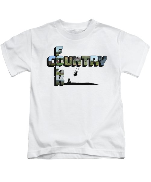 Country Folk Big Letter Graphic Art Kids T-Shirt