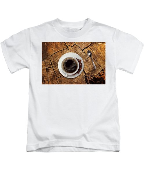 Cup Of Coffe On Wood Kids T-Shirt