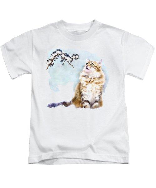 Cute Cat On The Lurk Kids T-Shirt