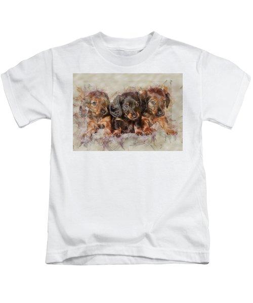 Dachshund Three Puppies Kids T-Shirt