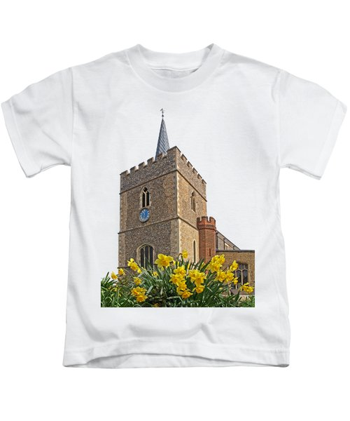 Daffodils Blooming At St. Mary's Church Kids T-Shirt