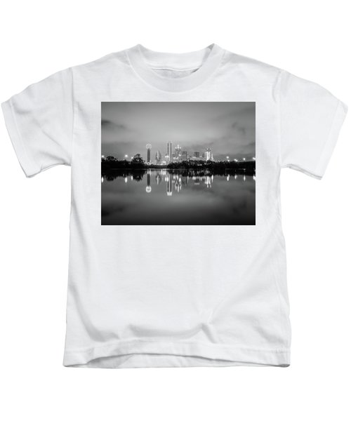Dallas Cityscape Reflections Black And White Kids T-Shirt
