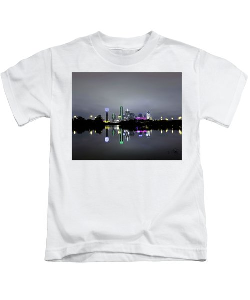 Dallas Texas Cityscape River Reflection Kids T-Shirt