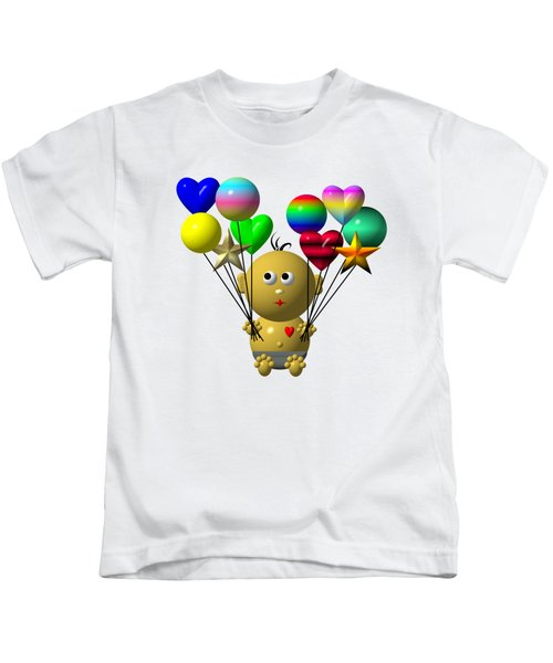 Dark Skinned Bouncing Baby Boy With 10 Balloons Kids T-Shirt
