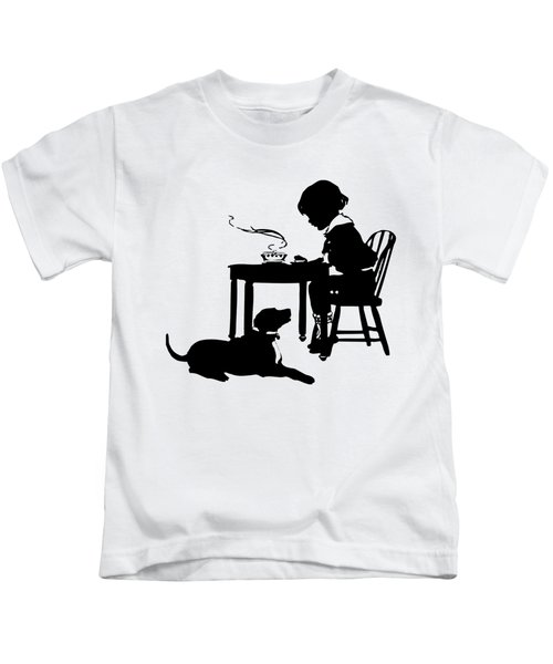 Dining With The Dog Silhouette Kids T-Shirt