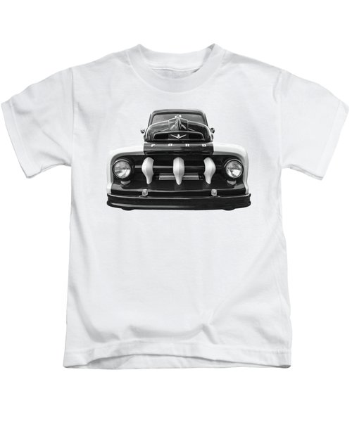 Early Fifties Ford V8 F-1 Truck In Black And White Kids T-Shirt