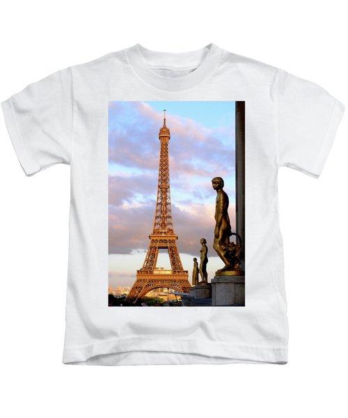 Eiffel Tower At Sunset Kids T-Shirt