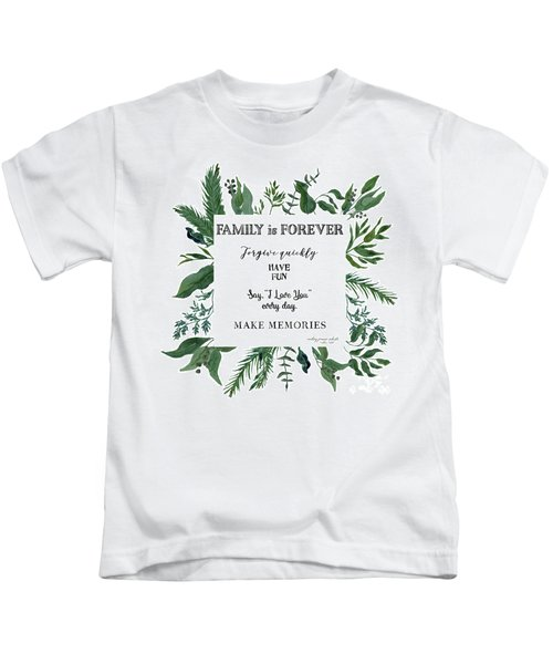 Emerald Wild Forest Foliage 3 Watercolor Kids T-Shirt