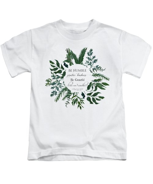 Emerald Wild Forest Foliage Watercolor Kids T-Shirt
