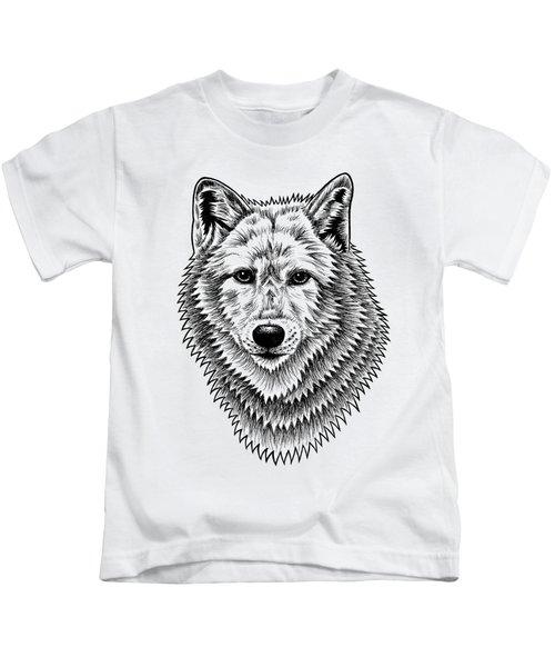 European Wolf - Ink Illustration Kids T-Shirt