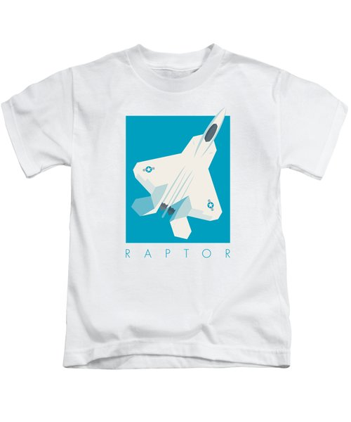 F22 Raptor Jet Fighter Aircraft - Cyan Kids T-Shirt