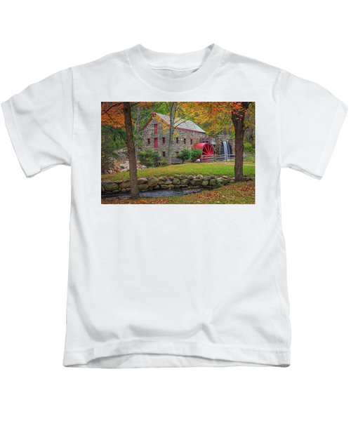 Fall Foliage At The Grist Mill Kids T-Shirt