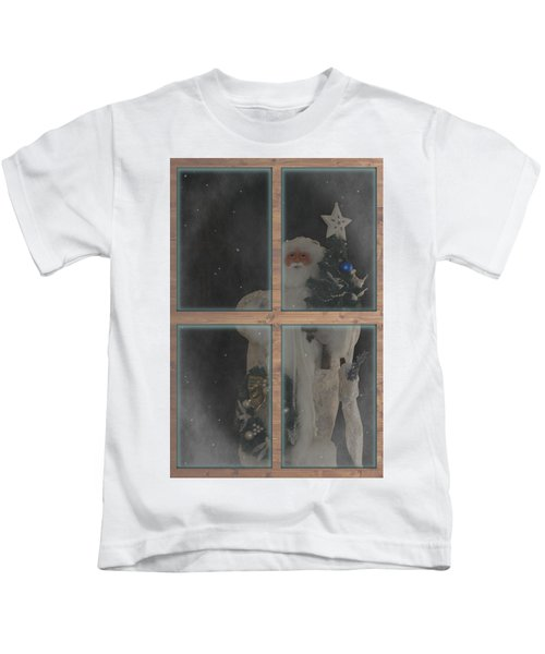 Father Christmas In Window Kids T-Shirt