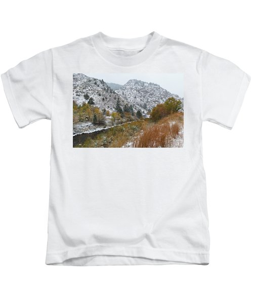 First Snow In Clear Creek Canyon Kids T-Shirt