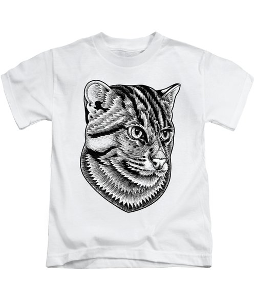 Fishing Cat  Ink Illustration Kids T-Shirt