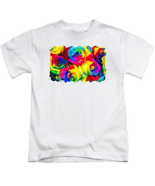 Flower Watercolor Drawing  - Rainbow Flower Kids T-Shirt
