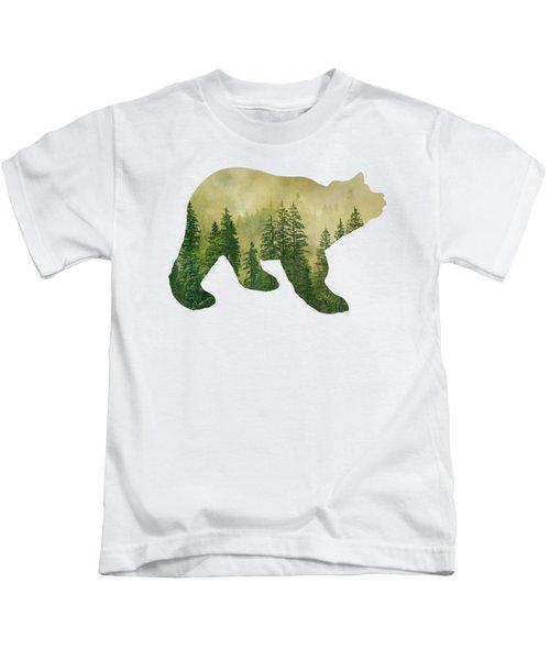 Forest Black Bear Silhouette Kids T-Shirt