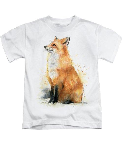Fox Watercolor Kids T-Shirt