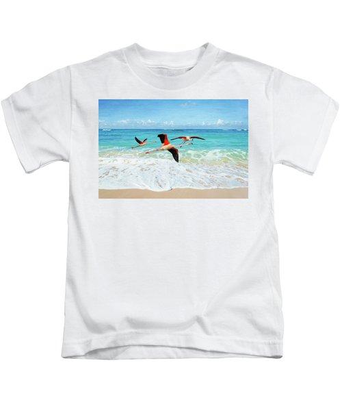 Frolicking Flamingos Kids T-Shirt