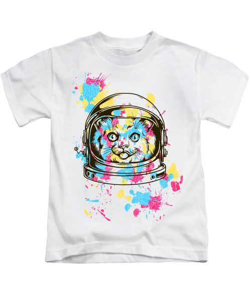 Funny Colorful Cat Astronaut Kids T-Shirt