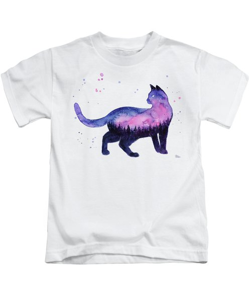 Galaxy Forest Cat Kids T-Shirt