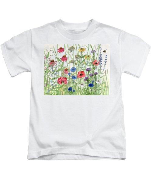 Garden Flower Medley Watercolor Kids T-Shirt