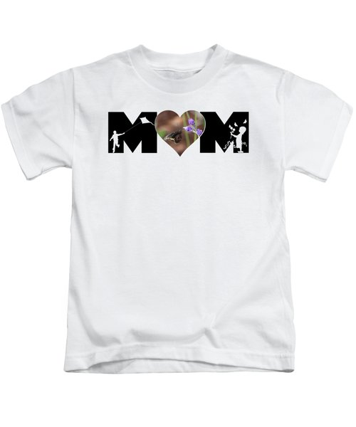 Girl And Boy Silhouette With Butterfly On Lavender In Heart Mom Big Letter Kids T-Shirt