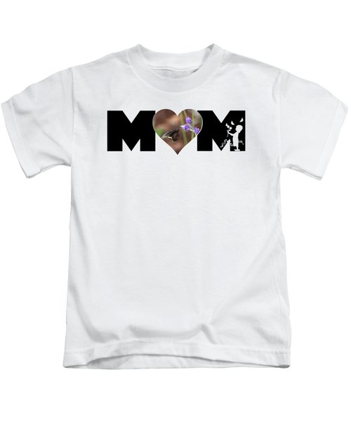 Girl Silhouette And Butterfly On Lavender In Heart Mom Big Letter Kids T-Shirt