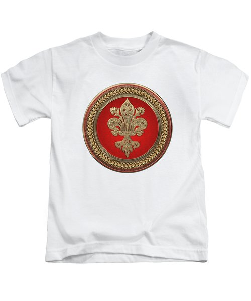 Gold Filigree Fleur-de-lis On Gold And Red Medallion Over White Leather Kids T-Shirt