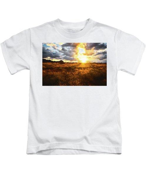 Golden Light Of Southern Arizona Kids T-Shirt