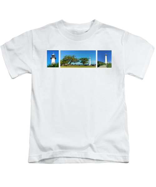 Grand Old Lighthouse Biloxi Ms Collage A1e Kids T-Shirt