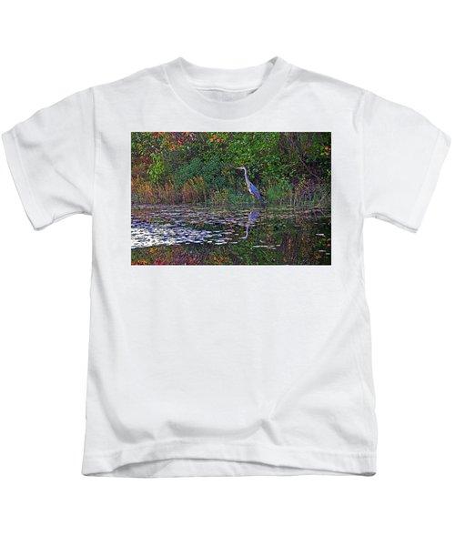 Great Blue Heron In Autumn Kids T-Shirt