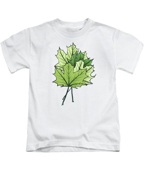 Green Maple Leaves On Vibrant Orange Kids T-Shirt