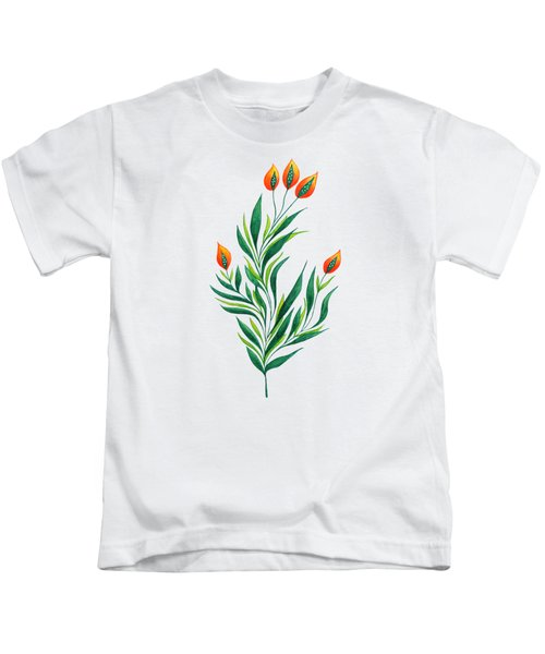 Green Plant With Orange Buds Kids T-Shirt