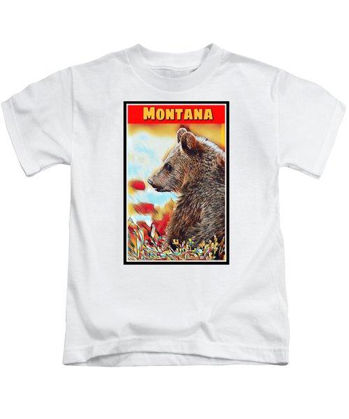 Grizzly Bear Art Montana Wildlife Travel Poster Kids T-Shirt