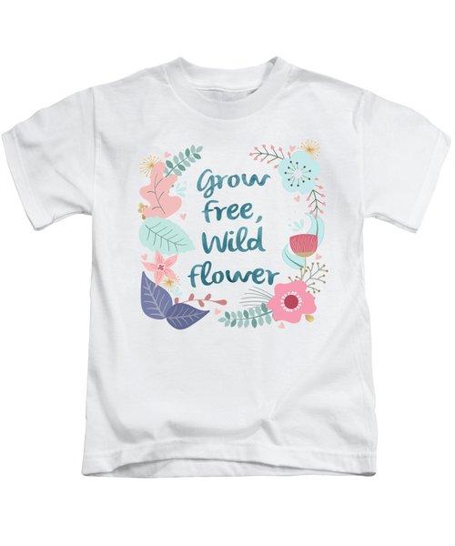 Grow Free Wildflower  Kids T-Shirt
