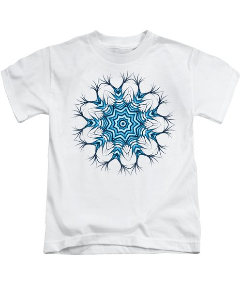 Hairy Snowflake Mandala In Blue Kids T-Shirt
