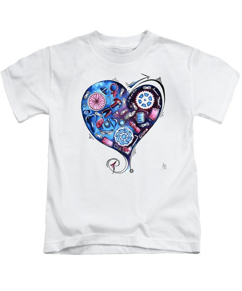 Heart Racing A Mad Shredder Biking Cycling Painting By Megan Duncanson Kids T-Shirt