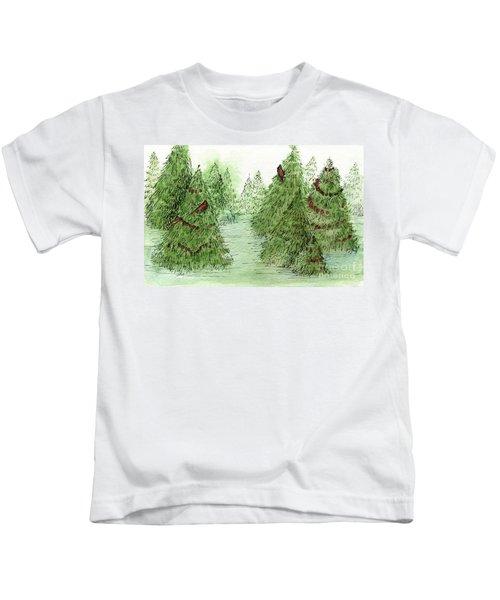Holiday Trees Woodland Landscape Illustration Kids T-Shirt