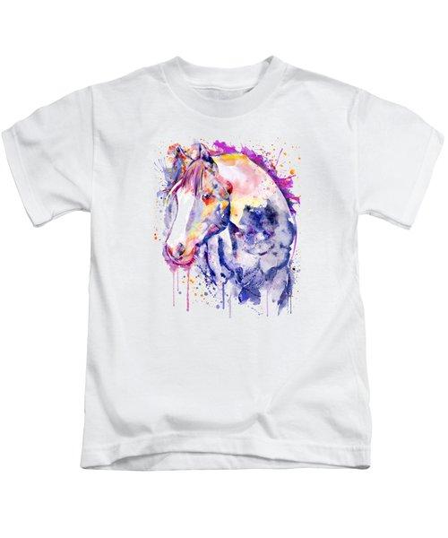 Horse Head Watercolor Portrait Kids T-Shirt